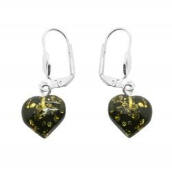 Green amber heart earring