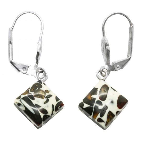 Boucles d'oreilles ambre mosaïque, forme carré