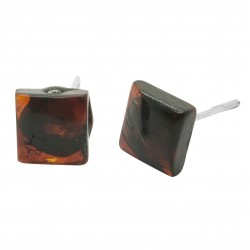 Cherry amber square earring