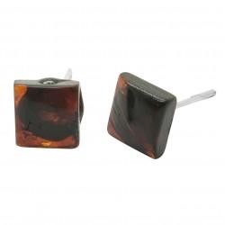 quadrato orecchino ambra ciliegia