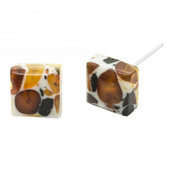 Boucle d'oreille carré en ambre mosaïque
