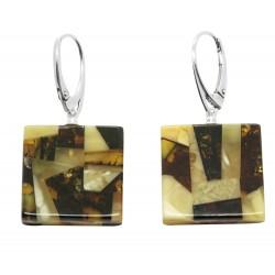 Ohrringe Bernstein und Silber Mosaik - Quadrat