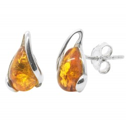 Earring in silver and amber honey drop of water