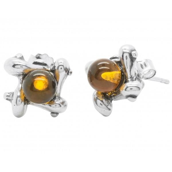 Boucle d'oreille moderne carré en Argent et perle d'Ambre ronde