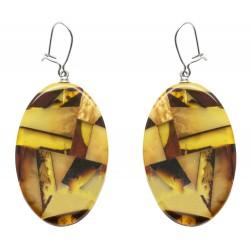 Boucle d'oreille Ambre mosaïque et Argent - forme ovale