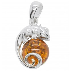 Silver Chameleon pendant with honey amber pearl
