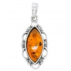 Silver and Amber honey pendant