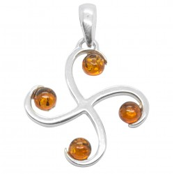 Cross pendant in silver and amber cognac