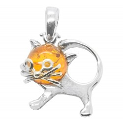 Cat Pendant in Silver and Honey Amber