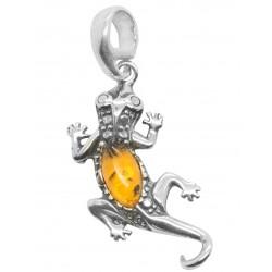 Lizard pendant in silver and natural amber