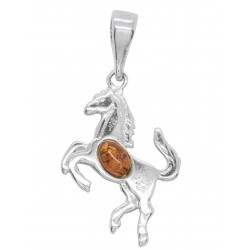Silver pendant in the shape of a horse with Amber pearl