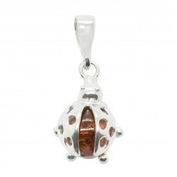 Coccinella piccolo ciondolo in argento e perle ambra