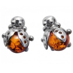 Silver and natural amber coccinel earring