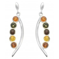 Amber pearl earrings multicolor and Silver 925/1000
