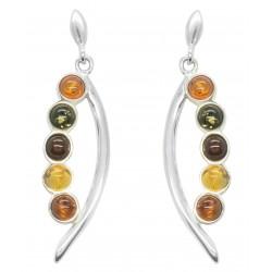 Ohrring Bernstein bunte Perlen und Silber 925/1000