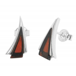 Cherry and Silver triangle shape earring