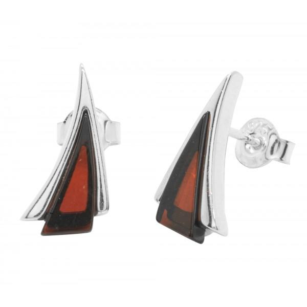 Boucle d'oreille en Ambre cerise et Argent forme triangle