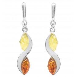 Silber-Ohrringe und Bernstein mehrfarbig