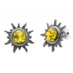 Silver and Green Amber Sun Earring