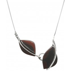 Natural amber necklace cherry color and silver 925/1000
