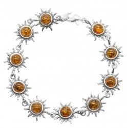Sun Bracelet in Silver and Amber