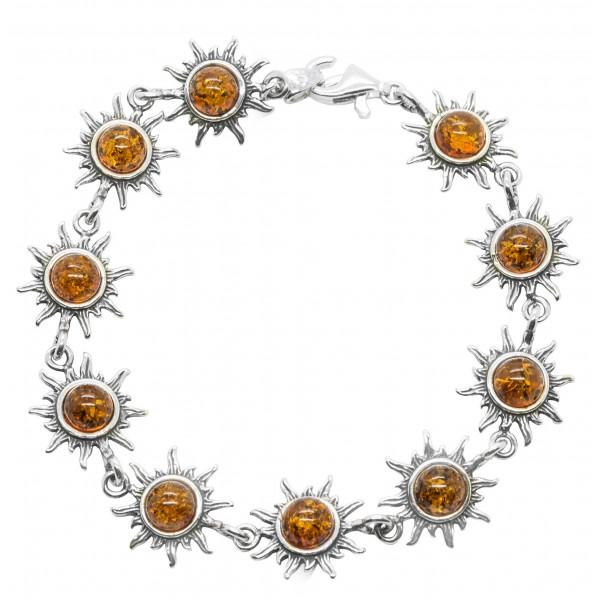 Bracelet Soleil en Argent et Ambre