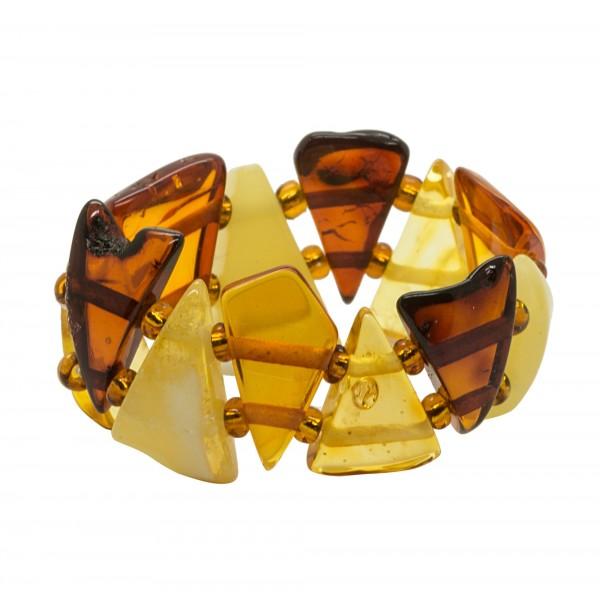 Bague multicolore en ambre naturel