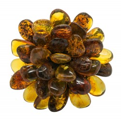 Amber ring in the shape of a multicolored flower
