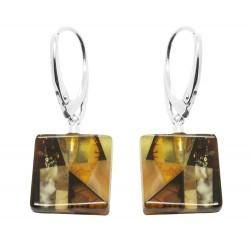 Boucle d'oreille Ambre mosaïque et Argent - forme carrée