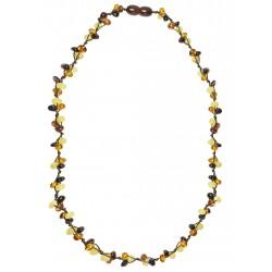 Halskette mit Perle Trio mehrfarbigen Bernstein