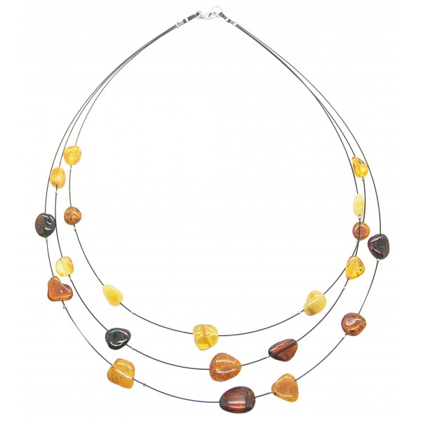 Collier d'ambre couleur miel, citron, royal et cognac