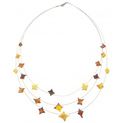 Star-shaped multicolored amber necklace