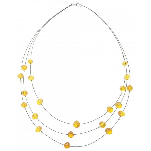 Collier d'ambre adulte avec perle ronde sur cable d'acier