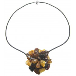 Necklace with multicolored amber flower