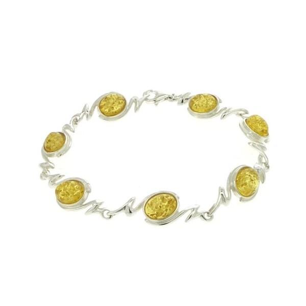 Bracelet Ambre citron - Femme - Argent