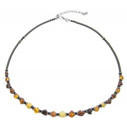 Natural amber necklace with multicolored pearl