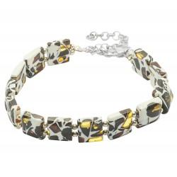 Square shape mosaic amber bracelet