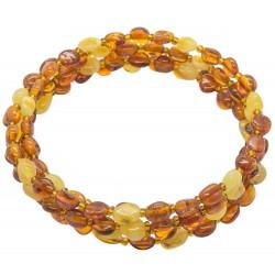 Honey and white amber bracelet 4 laps