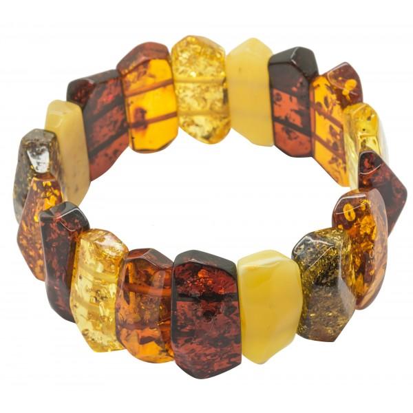 Bracelet en ambre multicouleur - Pierre d'ambre tailler