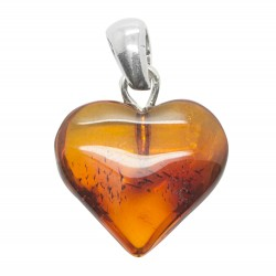 Amber heart and silver