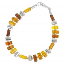 Bracciale ambra multicolore e argento 925/1000