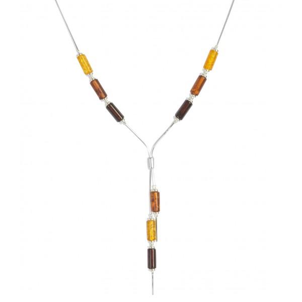 Collier ambre multicolore cognac et Argent
