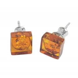 Boucle d'oreille carré en ambre miel & Argent