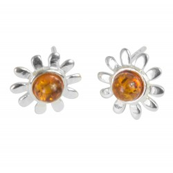 Silver and Amber flower earring