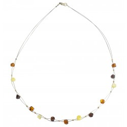 Multicolored amber necklace adult on steel cable