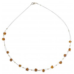 Honey amber pearl necklace on steel cable