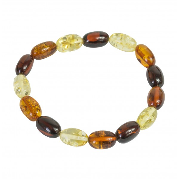 Bracelet d'ambre naturel multicolore