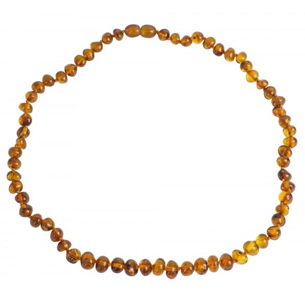 Collier adulte perle d'ambre baroque couleur cognac