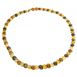 Adult necklace with genuine amber button multicolor