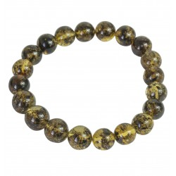 Adult green amber bracelet, round pearl